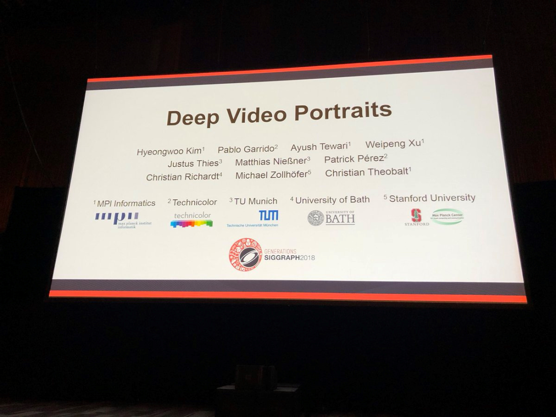 CAMERA New video editing technique presented at SIGGRAPH 2018